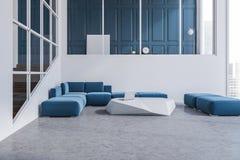 Интерьер живущей комнаты голубой софы белый, плакат иллюстрация вектора