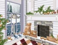 Интерьер живущей комнаты оформления рождества Giftboxes атмосферы праздников, гирлянда Кофейные чашки окном снежно бесплатная иллюстрация