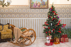 Интерьер живущей комнаты праздника рождества Стоковое Фото