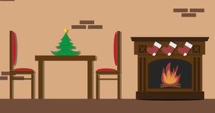 Интерьер живущей комнаты рождества с камином Нового Года и мебелью, таблицей и стульями, камином xmas и подарками, animatio шаржа бесплатная иллюстрация