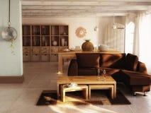 Интерьер живущей комнаты самомоднейший иллюстрация вектора