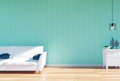 Интерьер живущей комнаты - софа белой кожи и зеленая панель стены с космосом