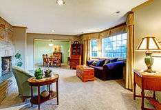 Интерьер живущей комнаты с деревенской мебелью стоковое фото