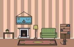 Интерьер живущей комнаты с камином и котом Стоковые Фотографии RF