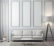 Интерьер живущей комнаты с классической стеной, переводом 3D стоковое изображение