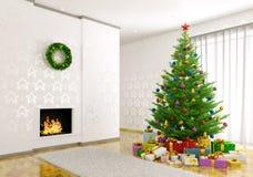 Интерьер живущей комнаты с рождественской елкой 3d представляет Стоковые Фотографии RF