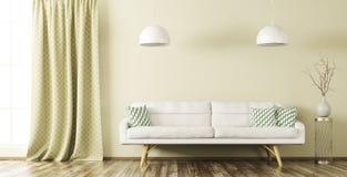 Интерьер живущей комнаты с софой 3d представляет Стоковые Изображения RF