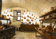 Интерьер замка Chenonceaux, взгляд кухни Стоковое Фото