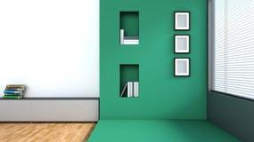 Интерьер зеленого цвета с большим окном Стоковая Фотография RF
