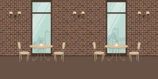 Интерьер кафа с бежевой мебелью на предпосылке кирпичной стены иллюстрация вектора