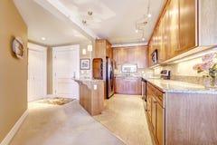Интерьер квартиры Комната кухни с прихожей входа Стоковые Фото