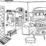 Интерьер комнаты бэтчелора или незамужней женщины Стоковое Фото
