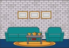 Интерьер комнаты в линии дизайне искусства плоском также вектор иллюстрации притяжки corel Стоковые Изображения RF