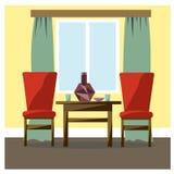 Интерьер комнаты обеспечен предпосылка рисуя флористический вектор травы Стоковое Изображение