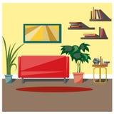 Интерьер комнаты обеспечен предпосылка рисуя флористический вектор травы Стоковые Изображения