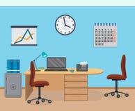 Интерьер комнаты офиса с мебелью, календарем, безопасным Стоковые Изображения
