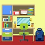 Интерьер комнаты подростка с комплектом значка мебели Иллюстрация современного интерьера домашнего офиса с дизайнерским настольны Стоковое Изображение