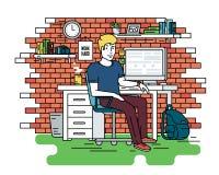 Интерьер комнаты рабочего места студента Стоковые Фотографии RF