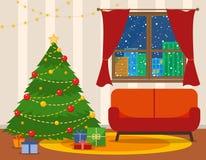Интерьер комнаты рождества Рождественская елка с софой Плоская иллюстрация вектора стиля иллюстрация штока