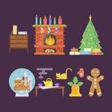 Интерьер комнаты рождества дома бесплатная иллюстрация