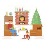 Интерьер комнаты рождества дома иллюстрация вектора