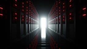 Интерьер комнаты сервера в datacenter Камера летания Реалистическая анимация 4K