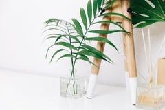 Интерьер комнаты стиля битника скандинавский Нордическая лампа с тропическими листьями стоковые изображения