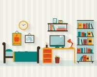 Интерьер комнаты с комплектом значка мебели Стоковые Фотографии RF