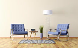 Интерьер комнаты с 2 кресло-качалками 3d представляет Стоковое Изображение RF