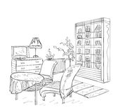 Интерьер комнаты, с shelving кресла и книги Стоковая Фотография RF