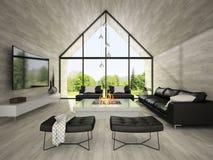 Интерьер комнаты 3D современного дизайна живущей представляя 2 Стоковое Изображение