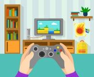 Интерьер комнаты gamer Иллюстрация регулятора игры в руках Мальчик играя на видеоигре на его консоли бесплатная иллюстрация