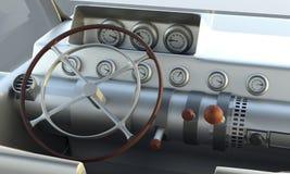 Интерьер корабля Внутренний автомобиль автомобиль ретро иллюстрация 3d иллюстрация вектора