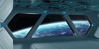Интерьер космического корабля футуристический серый голубой с взглядом на планете Eart Стоковые Фото