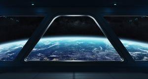Интерьер космического корабля футуристический с взглядом на земле планеты Стоковое фото RF