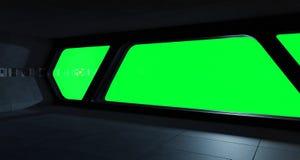 Интерьер космического корабля футуристический с взглядом окна Стоковое Изображение RF