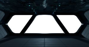 Интерьер космического корабля футуристический с взглядом окна Стоковые Фотографии RF