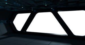 Интерьер космического корабля футуристический с взглядом окна Стоковые Изображения