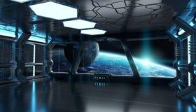 Интерьер космического корабля с взглядом на земле 3D планеты представляя el иллюстрация вектора