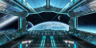 Интерьер космического корабля с взглядом на дистантной системе 3D планет представляет Стоковое Изображение