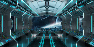 Интерьер космического корабля с взглядом на дистантной системе 3D планет представляет Стоковая Фотография