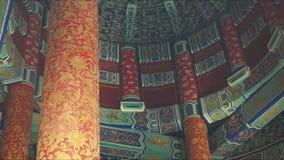 Интерьер крыши Temple of Heaven, Пекин сток-видео