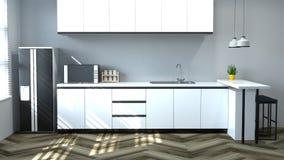 Интерьер кухни варя белую таблицу, стул, лампу, современный дизайн дома перевода ресторана 3d еды для предпосылки космоса экземпл бесплатная иллюстрация