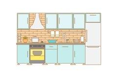 Интерьер кухни вектора Стоковые Изображения