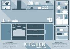 Интерьер кухни в плоском стиле Стоковая Фотография RF