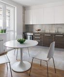 Интерьер кухни в современной квартире в скандинавском стиле Стоковое Изображение RF