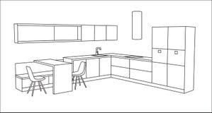 Интерьер кухни, идея проекта для современного дома Стоковые Изображения RF