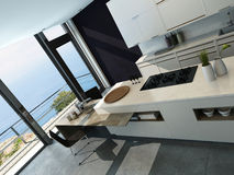 Интерьер кухни современного дизайна стоковые фотографии rf