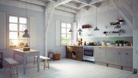 Интерьер кухни стиля Стоковое Фото