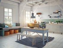 Интерьер кухни стиля Стоковое фото RF